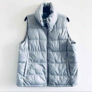 Old Navy Puffer Vest XL Heather Gray Fleece Lined
